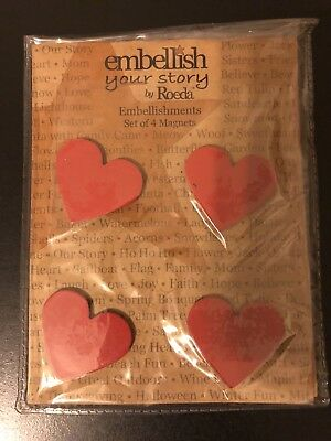 Embellish Your Story By Roeda Red Heart Magnets SET OF 4 NEW