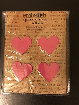 Embellish Your Story By Roeda Pink Heart Magnets SET OF 4 NEW