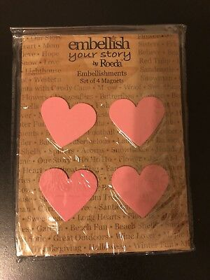 Embellish Your Story By Roeda Light Pink Heart Magnets SET OF 4 NEW