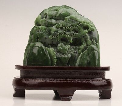 Antique Hetian Jade Statue Old Hand Carved Hill Water Tree Hollows Decorate Big