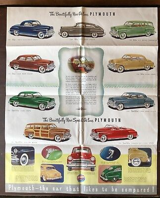 "Orig 1950(?) Plymouth Automobile brochure poster 23"" x 30"" open"