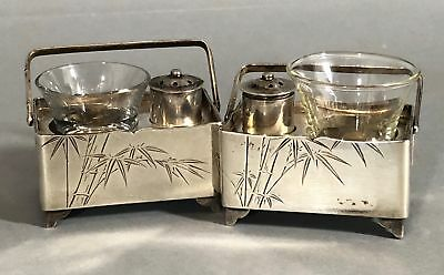 Vintage Miniature Japanese K. Uyeda, Sterling Silver Open Salt & Pepper Box Set