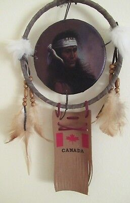 DREAM CATCHER Canadian native craft FEATHER, BEADS etc SOUVENIR WALL HANGING