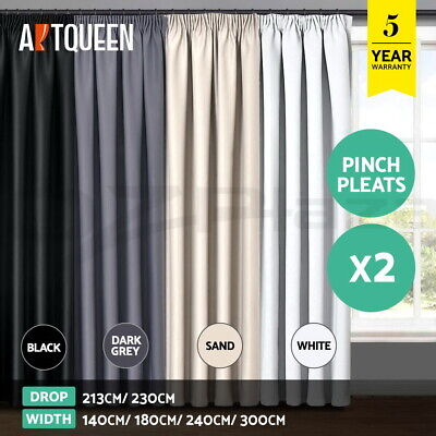 Artqueen 2X Blockout Curtains Blackout Window Curtain Panels Pinch Pleat Eyelet