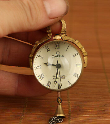 valuable Chinese Old copper Handmade Machinery Statue pocket watch clock
