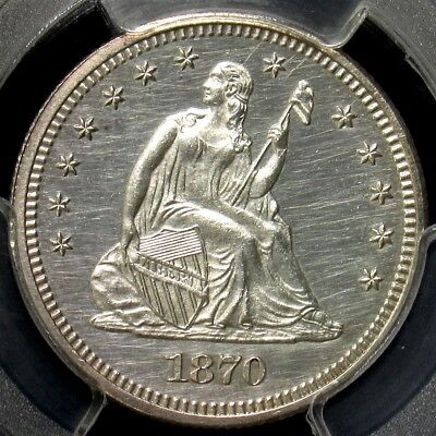 1870 Seated Liberty Quarter Proof- PCGS UNC Detail Certified Silver True Auction