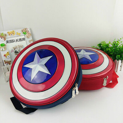 US Captain America Shield Backpack Marvel Avengers Superhero School Bag Kids