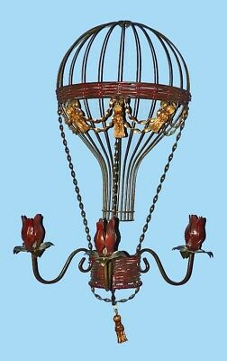 1980's Mixed Media Hot Air Gas Balloon Wall Hanging Candle Sconce Sculpture