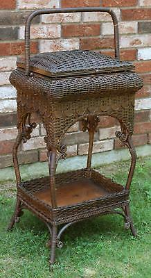 Antique Early 20thC Heywood Brothers Nartural Wicker Sewing Basket & Stand, NR
