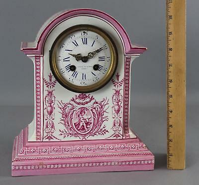 Antique Victorian French Gein Pink & White Porcelain Japy Freres Mantle Clock