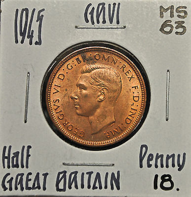 1945 Great Britain Half Penny MS-63