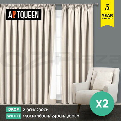 Art Queen 2X Blockout Curtains Window Blackout Curtain Pinch Pleat Eyelet Sand