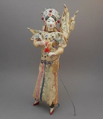 Vintage Chinese Opera Theater Composition Doll Silk Costume Flags Souvenir China