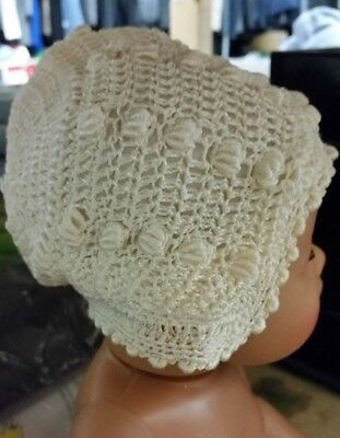 Vintage HAND-CROCHETED & lined baby hat or cap for Newborn baby (or a doll's cap