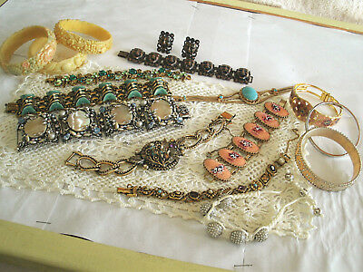 Vintage Retro Bracelets (15) + 1 Pr Earrings ' Art ' Hobe ' Goldette Ny ' Monet