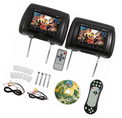 "Rockville RDP711-BK 7"" Black Car Headrest Monitors w/DVD Player/USB/HDMI+Games"