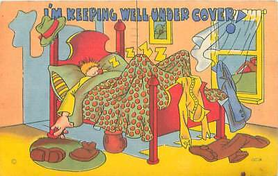 Comedy Linen Postcard WWII Era Beal's Litho Asleep Under Cover Free Postage