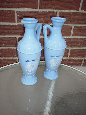 2Vintage Greek Grecian Key Blue Glass Decanter/Vase w/Aristotle Plato & Socrates