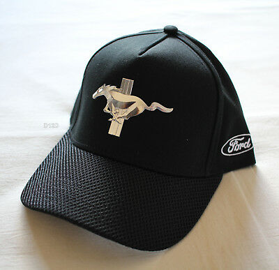 Ford Mustang Mens Black Premium Snapback Cap Hat One Size New
