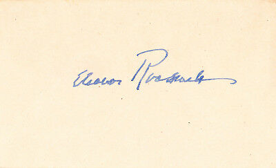 ELEANOR ROOSEVELT.  First Lady.  Wife of FDR,  niece of TR.  Signed Card.