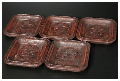 AIN21 Japanese Antique Ainu wooden small square 5 plate # Japan