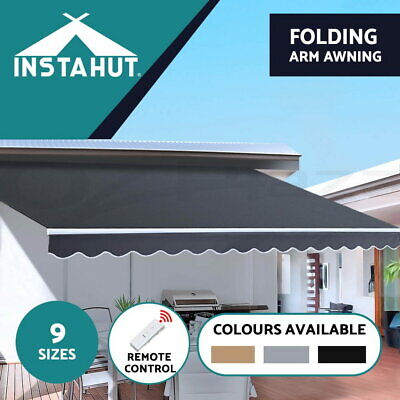 Instahut Motorised Folding Arm Awning Remote Retractable Outdoor Sunshade Canopy