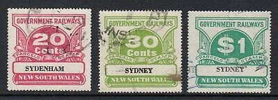 NEW SOUTH WALES 20c, 30c, $1 RAILWAY PARCEL STAMPS, USED