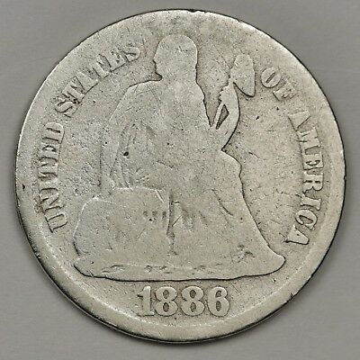 1886-s Liberty Seated Dime.  Circulated.  126965
