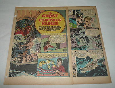 1942 four page cartoon story ~ sinking of the SS BRITANNIA ~ crew survival story