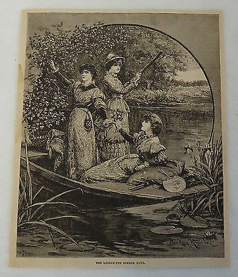 1882 magazine engraving ~ THREE WOMEN IN SMALL BOAT