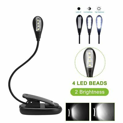 UK Dimmable Flexible Neck 7LED Light Clip on Book Lamp Reading USB Rechargeable