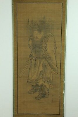 "Aug108 Japanese Muromachi Hanging Scroll""shoki Guardian""hand Painted Signed"