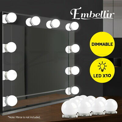 Hollywood Mirror Vanity LED Light Kit Beauty Makeup With 10 Bulbs Dimmer AU