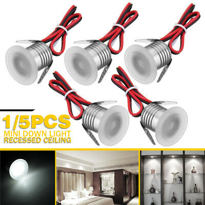 5x LED Recessed Small Cabinet Mini Spot Lamp Ceiling Downlight Kit Fixture White
