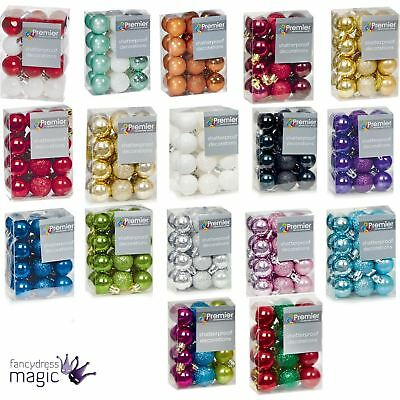 24 x 30mm Mini Christmas Xmas Baubles Balls Tree Hanging Decorations ALL COLOURS
