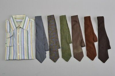 Size 15-15.5 Collar Shirt with 6 x Wool and Silk New & Lingwood Ties. Ref FUI