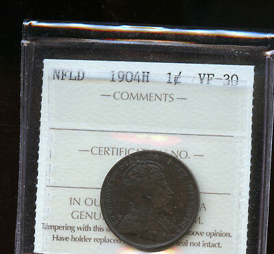 1904 H Newfoundland Large Cent ICCS Certified VF30 DCD106