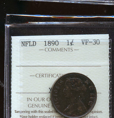 1890 Newfoundland Large Cent ICCS Certified VF30 DCD108
