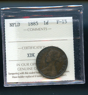 1885 Newfoundland Large Cent ICCS Certified F15 DCD110