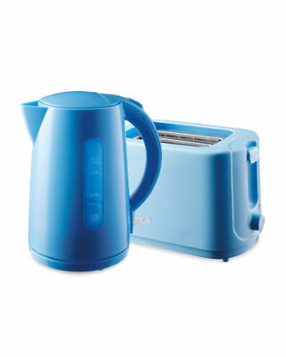 Blue Kettle and Toaster Set
