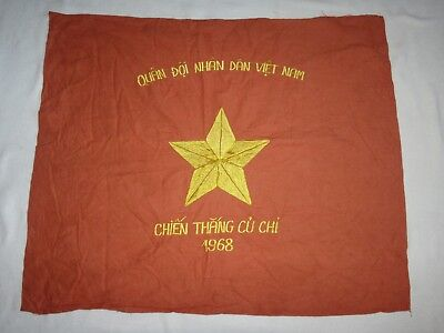 "Vietnam War VC NVA Battle Flag ""CHIEN THANG CU CHI 1968"" Victory At CU CHI"