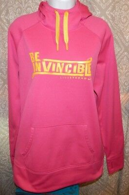 NIKE THERMA-FIT Neon Pink Hoodie Sweatshirt Women's XL LIVESTRONG Be Invincible