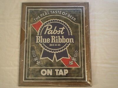 "UNUSED VINTAGE 1980's PABST BLUE RIBBON BEER ON TAP WOOD FRAMED SIGN 18"" x 14.5"""