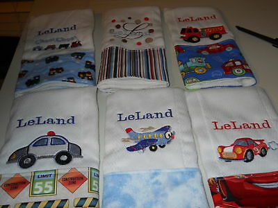 Personalized baby embroidered burp cloths set of 4-boy