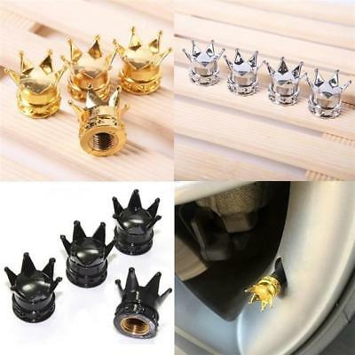 4Pcs Universal Crown Car Truck Bike Tire Air Valve Stem Cap Cover Wheel CB