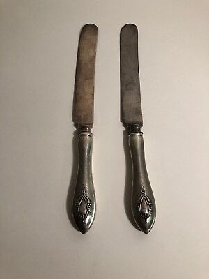 Lot Of 2 Sterling Silver Butter Knives Marked Sterling