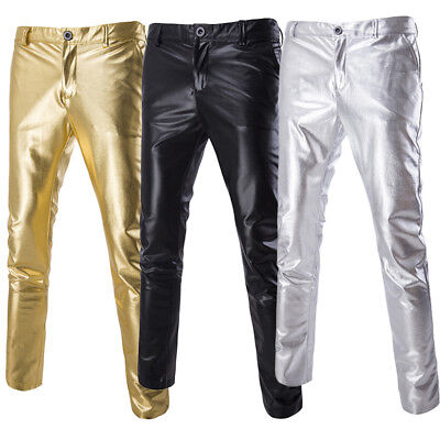 Mens Faux Leather Biker Pants Wet Look Stage Trousers Metallic Shiny Gold Silver