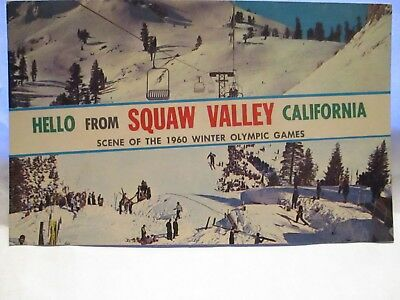 1964 Large Letter Postcard Hello From Squaw Valley Ca, Scenes 1960 Winter Games