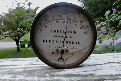 Ambulance Phone  M-367~Klee & Burkhart~4Th & Chandler~Evansville~Old Thermometer