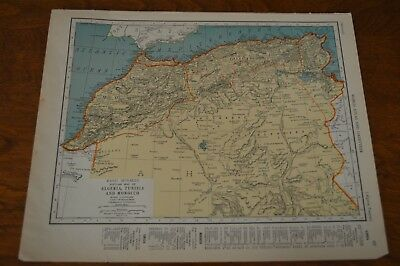 1937 Map of Algeria Tunisia & Moroco - Map of Union of South Africa on Reverse